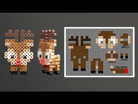 Super Cute 3D Christmas Rudolph Perler Bead Pattern. Laceys Crafts is all about sharing super simple and adorable crafts for kids. Enjoy!