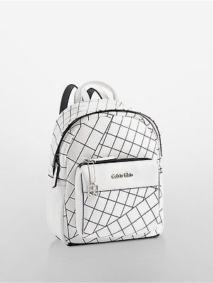 foto de Calvin Klein Womens Hailey City Backpack White With Black Grid ...