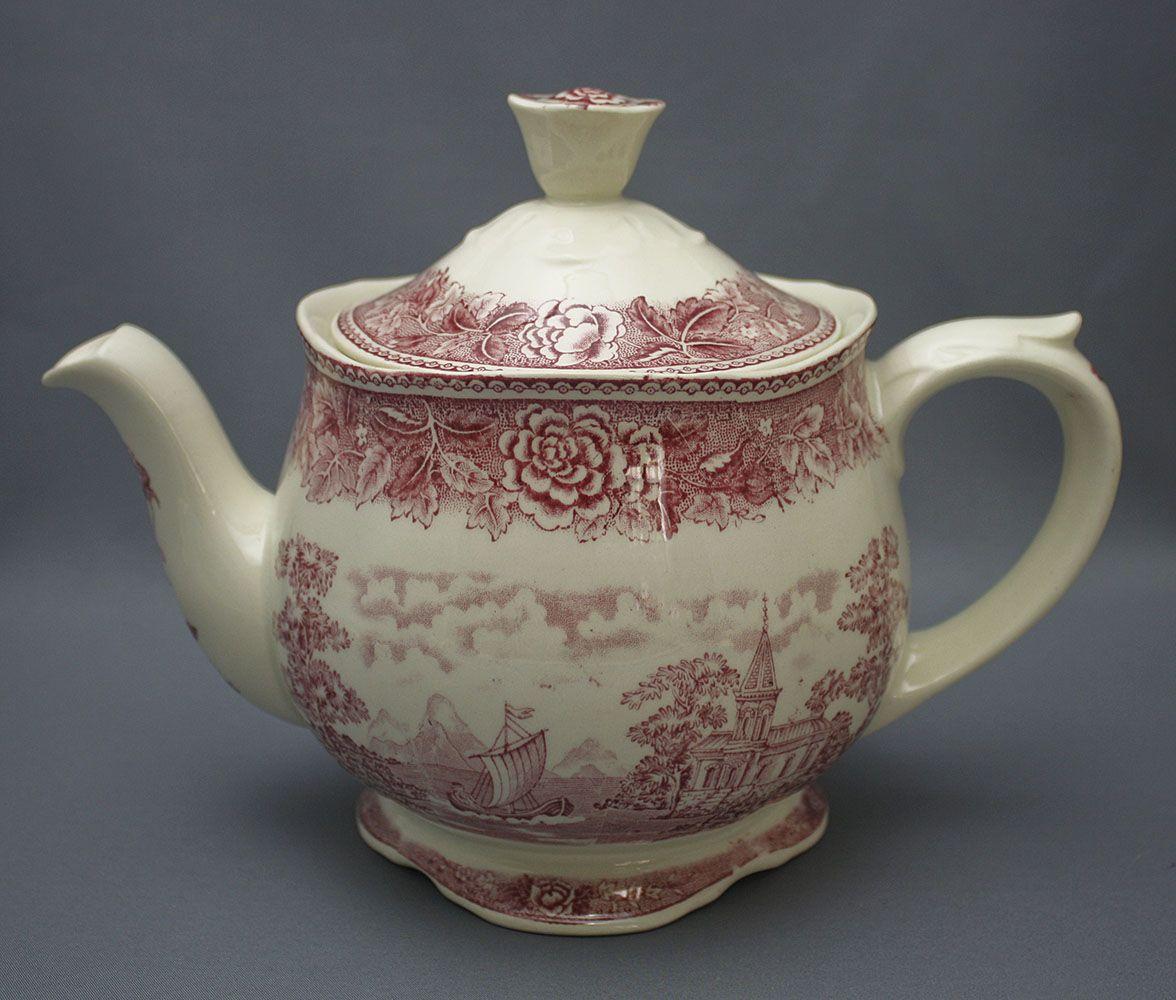Arabia, teekannu, Punainen maisema