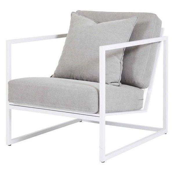 Modern Designer Stanley Armchair White Frame Stone Linen