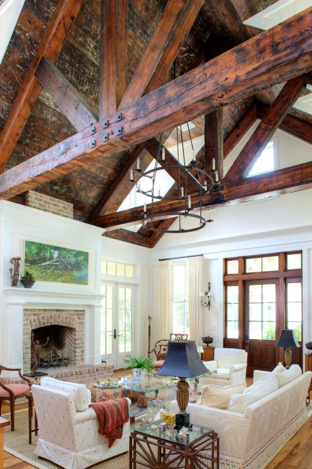 Southern draw design build timberframe home sweet for Exposed beam vaulted ceiling
