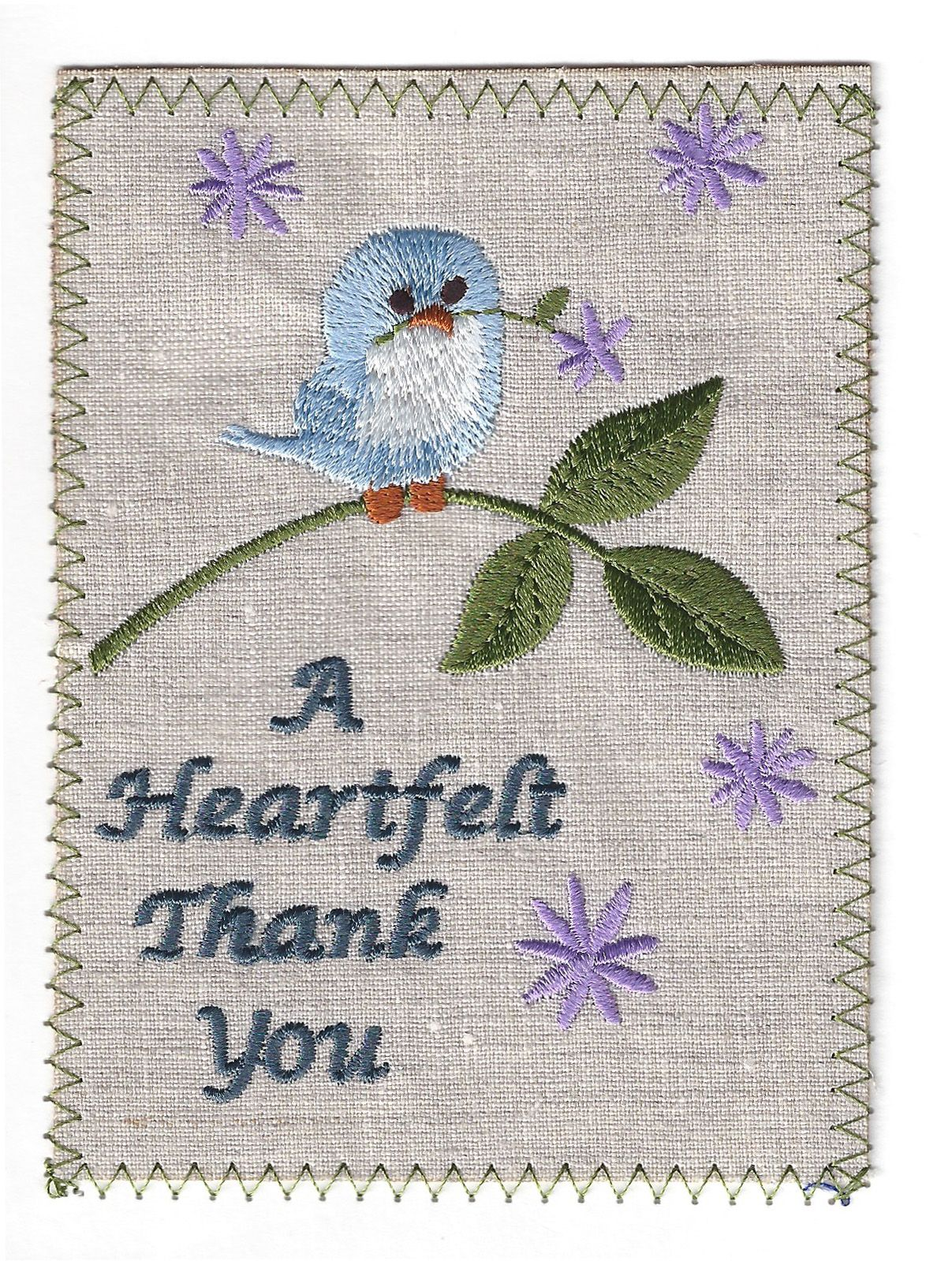 Cute Blue Bird Saying Thank You On Embroidered Linen Card Item