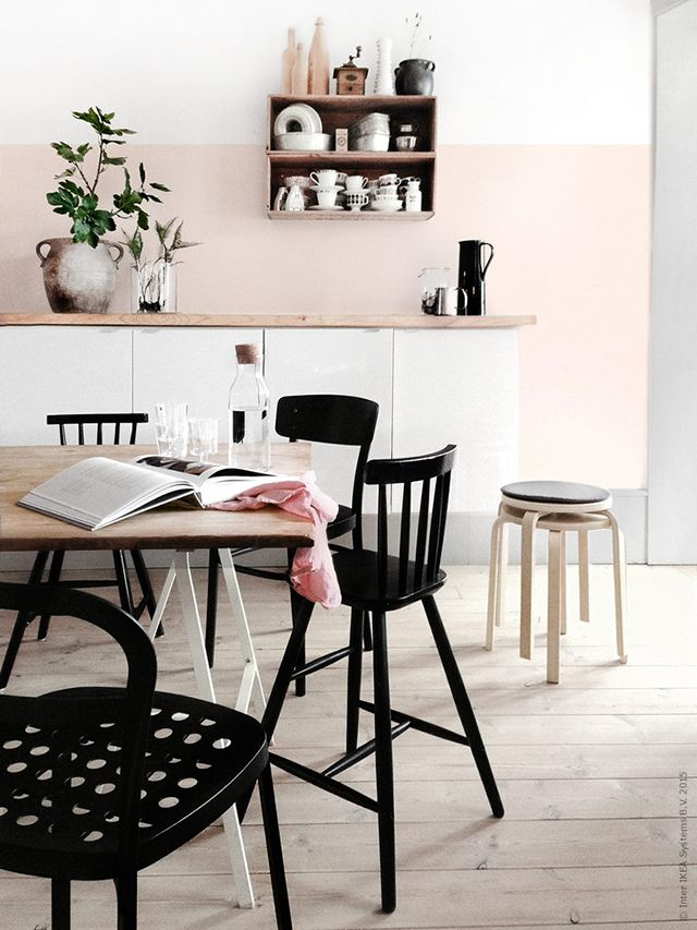 Light Pink Half Wall Green Plant Kitchen Dining Room Black Chairs