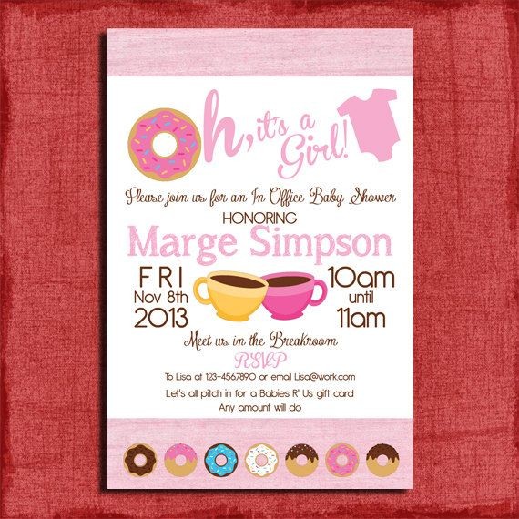 Printable Office Donut Baby Shower Invitation-Great For