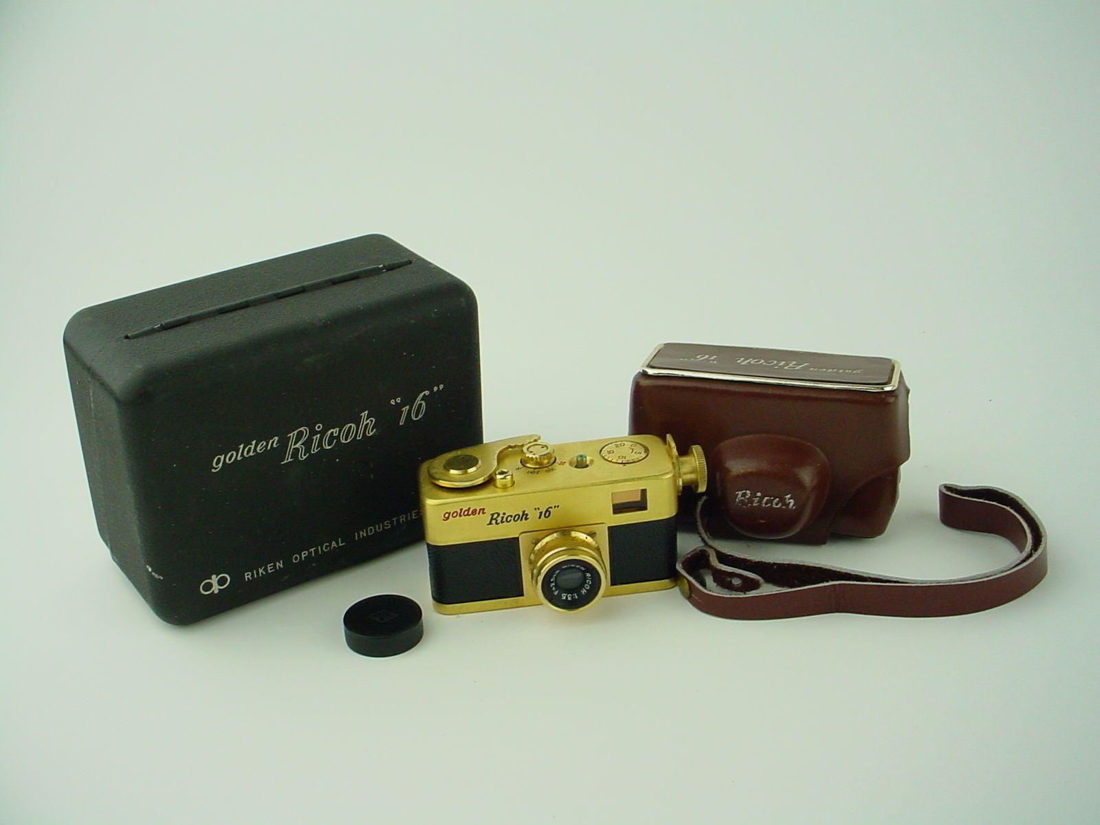 Golden Ricoh 16 Steky Subminiature Spy Camera W Riken 2 5cm F3 5 Lens Box Ebay