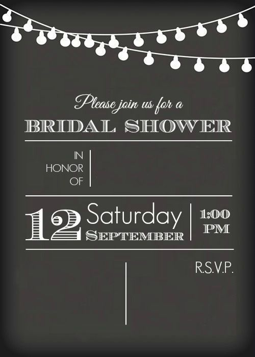 chalkboard bridal shower invitation template plus this post gives lots of great ideas for a rustic