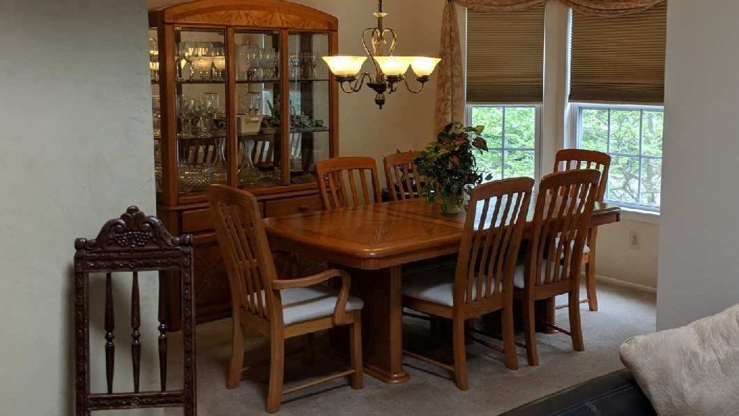 Dining Sets 107578 Oak Dining Table And 6 Chairs Cream Fabric And