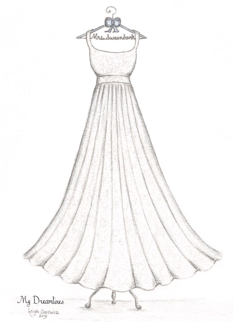 Wedding Dress Sketch Given For Bridal Shower Gift Wedding Gift And