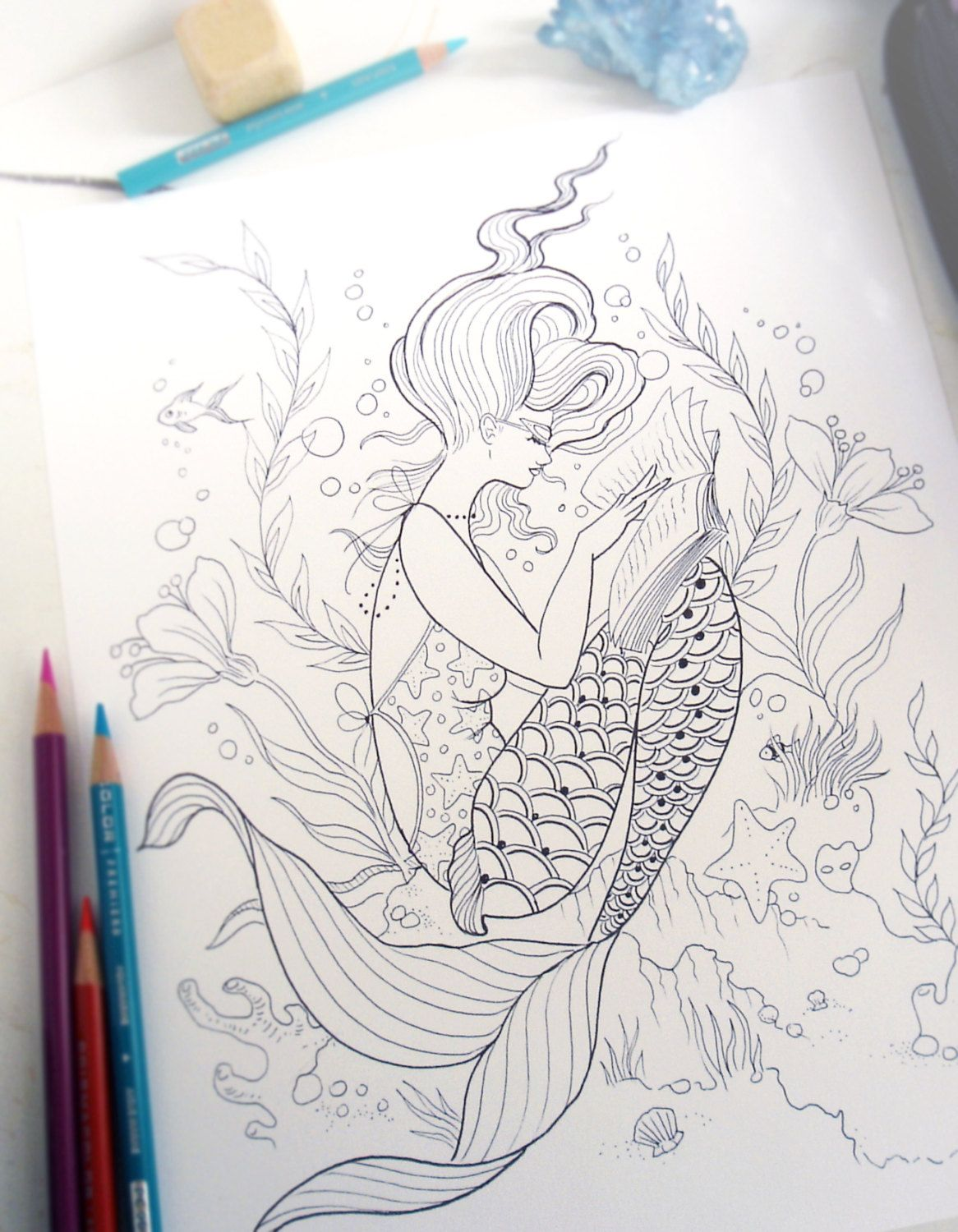 Reading Mermaid Coloring Page
