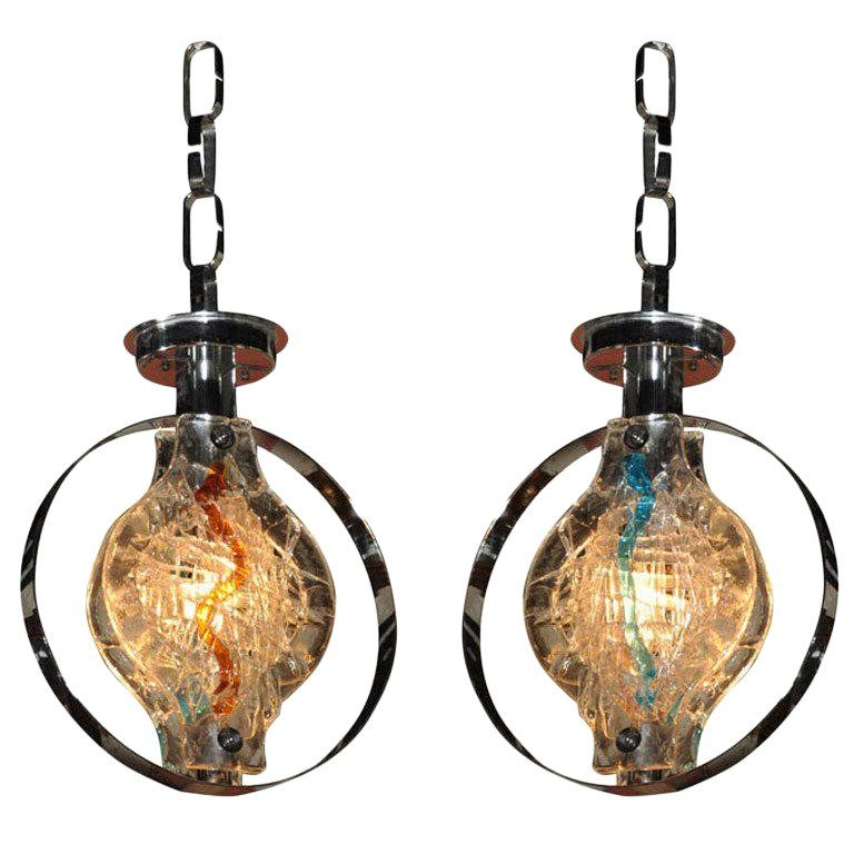 Pair Of Murano Glass Pendant Lights Or Chandelier Anhanger