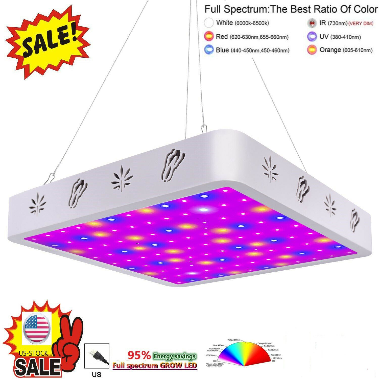 V99grow 1000w Led Grow Light Panel Lamp Full Spectrum Hydroponic Plant Growing G In 2020 With Images Led Grow Lights Hydroponic Plants Hydroponics