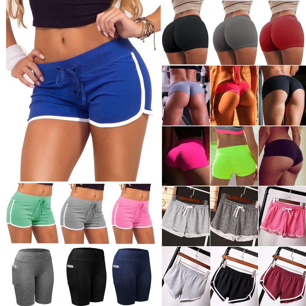 Gym Kurzhose Shorts Sporthose Jogging Kurze Slim Fit Basic Damen Hose