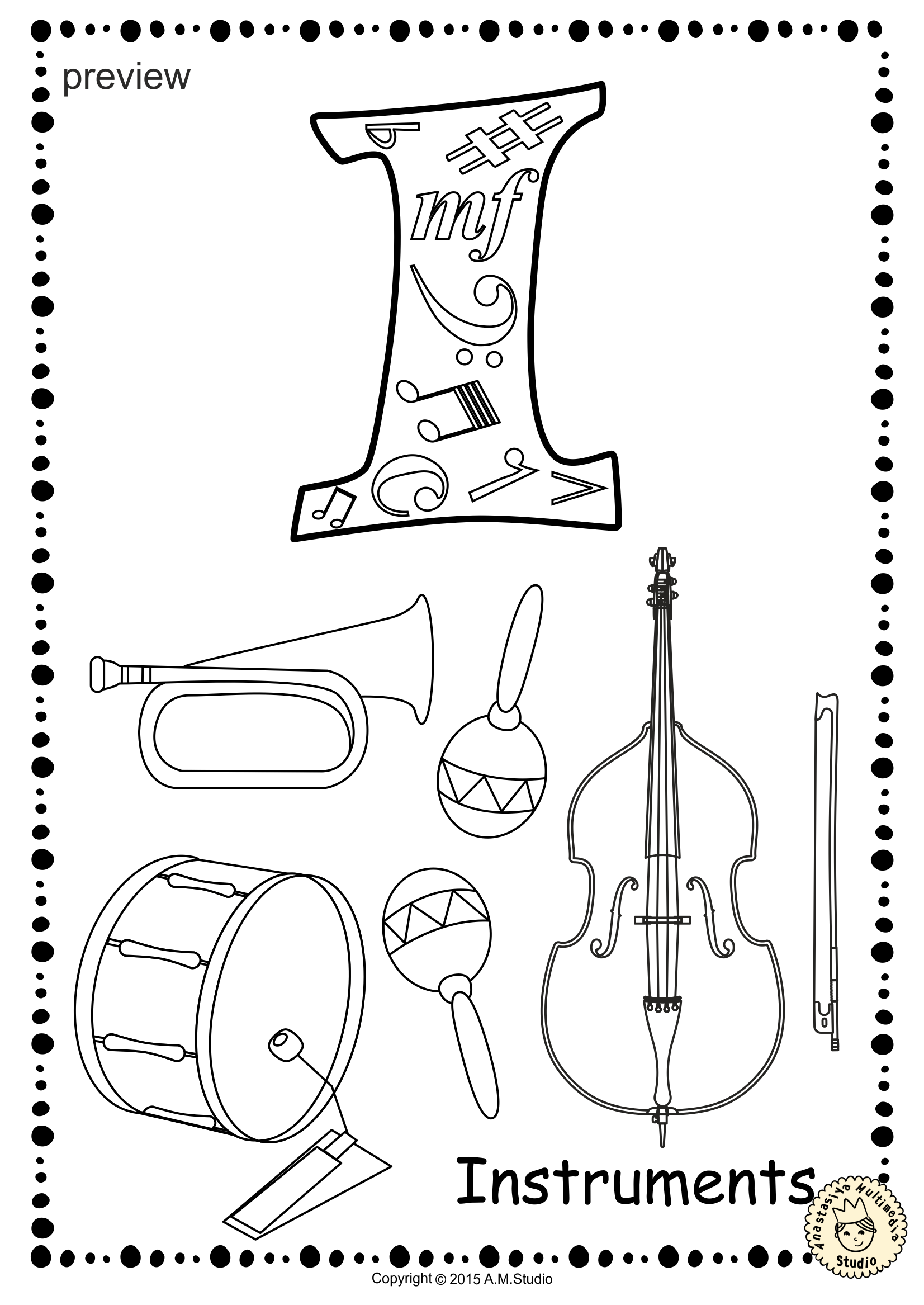 this file (in pdf form) contains 26 musical instrument coloring