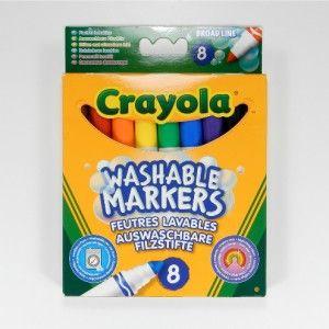 Pestävät tussit, 8 väriä. Crayolan vesiohenteisilla tusseilla voit antaa lapsesi värittää ilman huolia. Värit lähtevät helposti ihosta ja konepesussa vaatteista.  Käyttöä kestävä kärki, pitkä käyttöikä ja tukevaksi suunniteltu tussi, josta pienempikin lapsi saa helposti otteen.