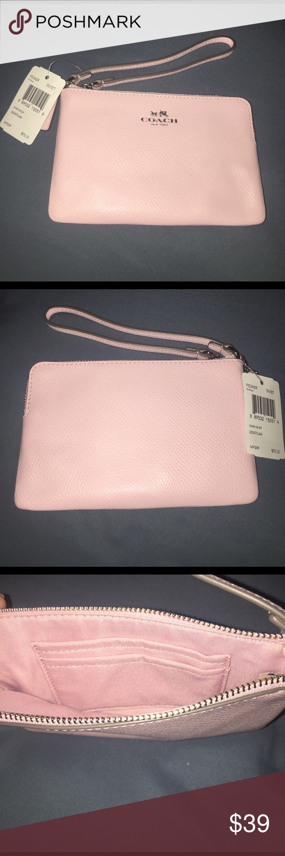 Brand new Coach wristlet! Limited edition color! Brand new Coach wristlet!  Perfect for everyday use to a night out, beautiful limited edition rose color. Brand new with tags! Coach Bags Clutches & Wristlets