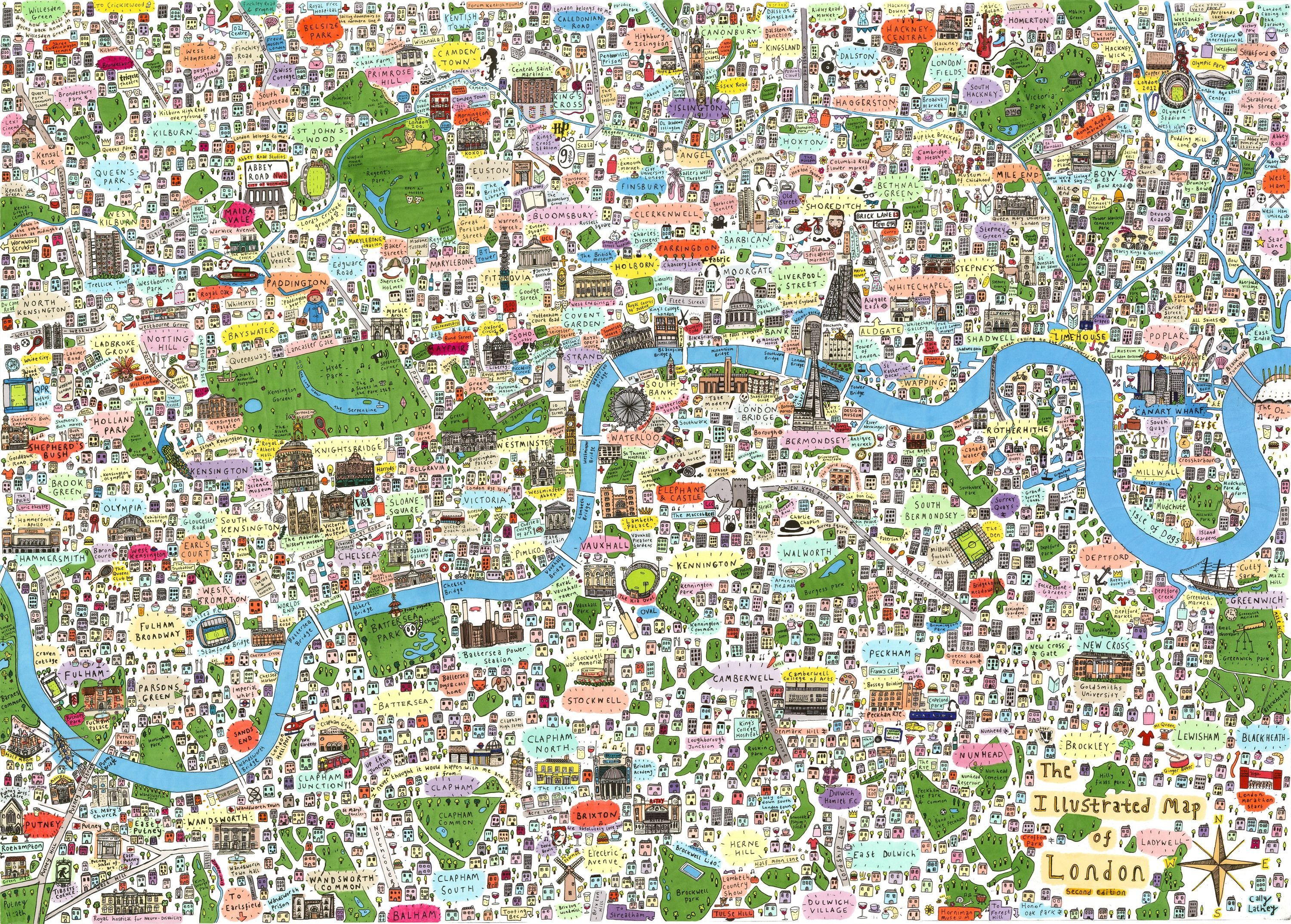 Map Of London With Famous Landmarks.Check Out This Lovely Illustrated Map Of London London