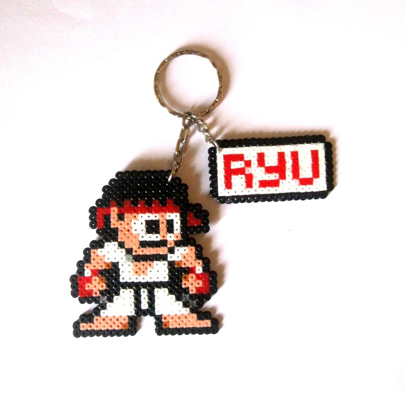 Ryu Street Fighter Sprite Keychain Hama Mini Beads By