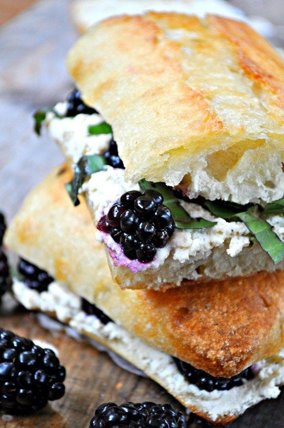 Vegan Blackberry, Basil and Ricotta Pressed Sandwi