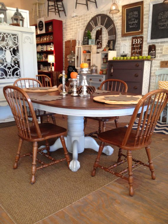 Claw Foot Table And 6 Vintage Chairs Set Wood By Oakandolivehome