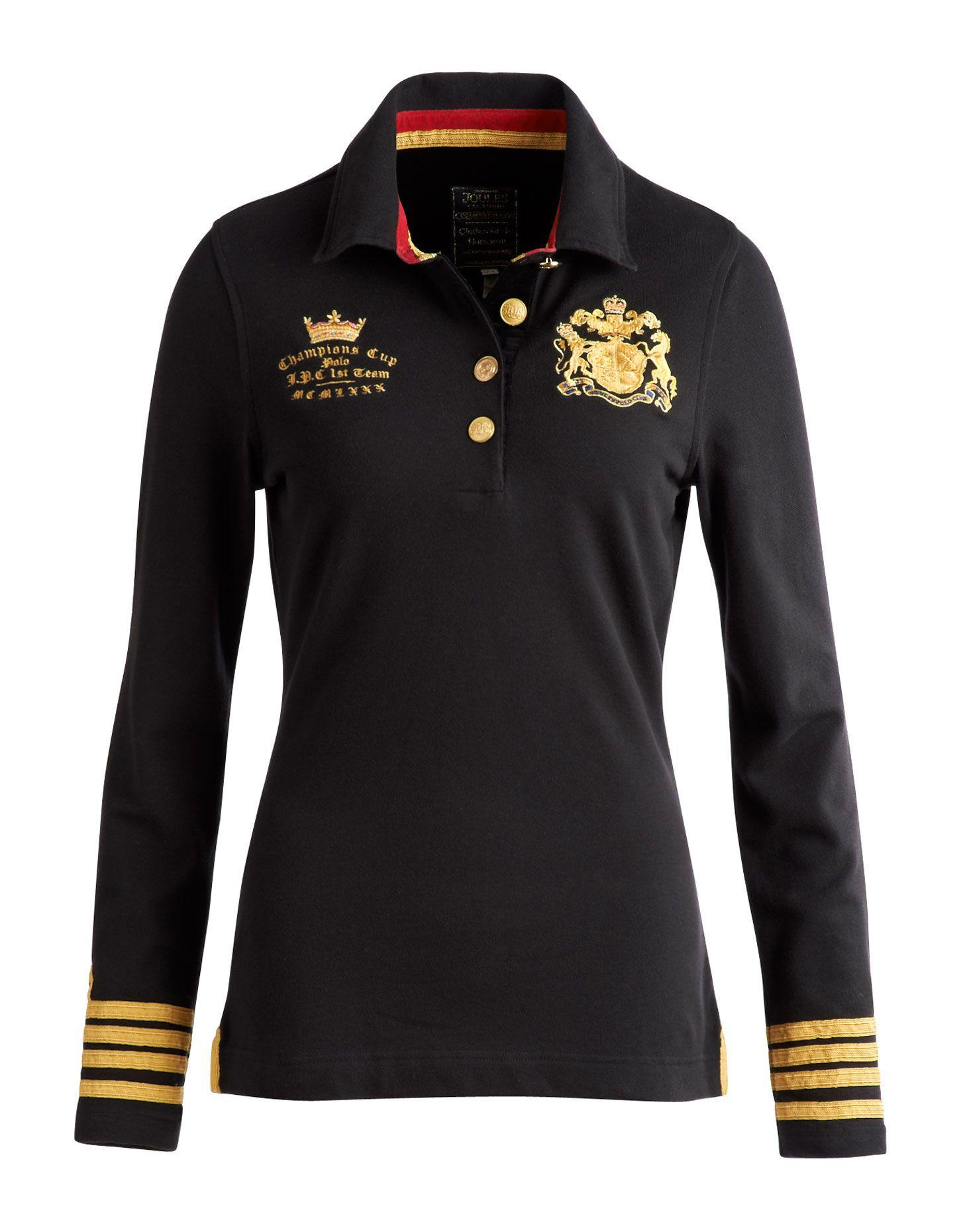 Black Natalya Womens Polo | Joules UK | Equestrian shirt, Long ...