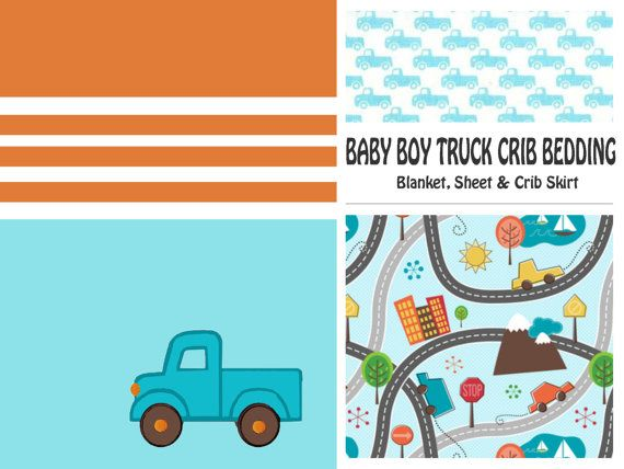 Trucks Baby Boy Crib Bedding   Trucks in Aqua & by BlanketsETC