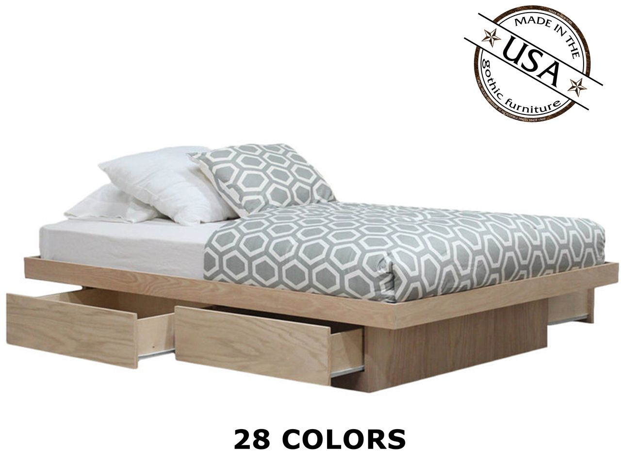 Queen Platform Bed with 4 Drawers on Tracks | Oak Wood | Pinterest