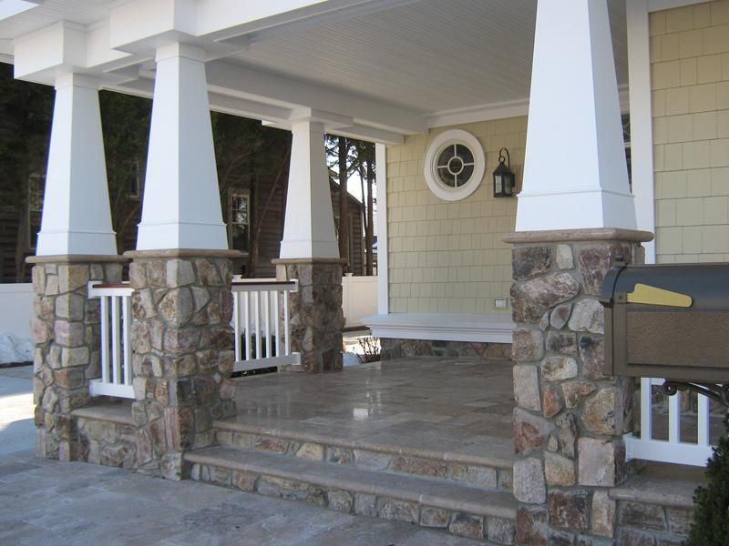 Blue mt stone veneer porch chimney pinnacle stone for Stone porches photos