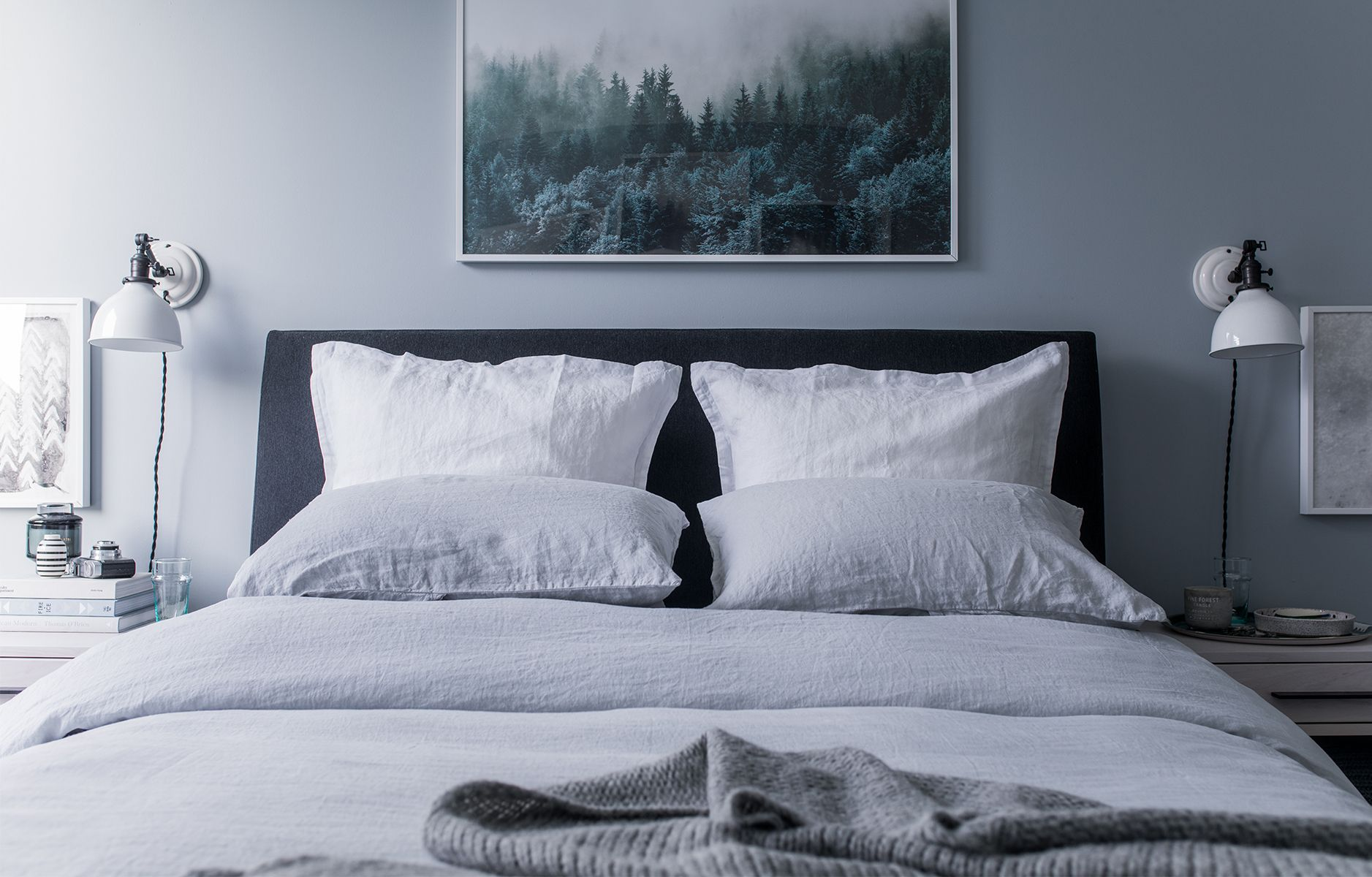 bazaar blogger will taylor tours us through his bedding updates using parachute homes fog linen bedding and shares his morning rituals - Parachute Bedding