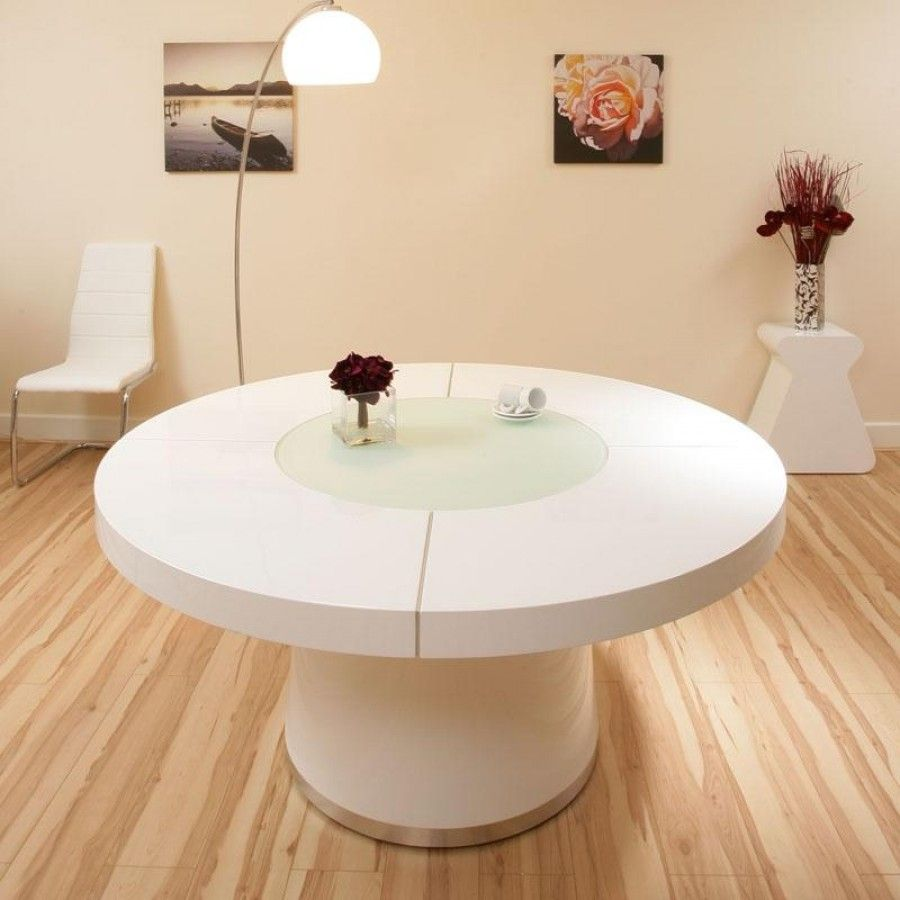 Luxury Round Dining With Lazy Susan And LED Lights In Oak Walnut Elm White Gloss