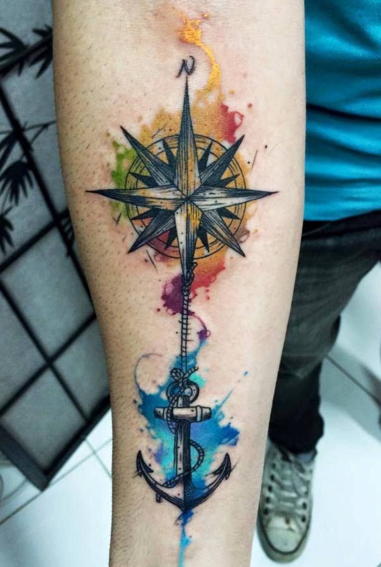 foto 40 Watercolor Compass Tattoo Designs For Men – Cool Ideas