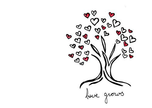 Simple Tree Drawing Wedding Love Hearts Art Print Love