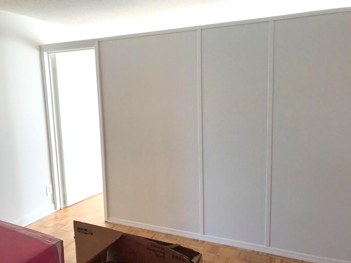 Temporary Apartment Wall With Standard Swing Door Call Us For All Your Custom Room Partition Inq Temporary Wall Divider Temporary Room Dividers Room Partition