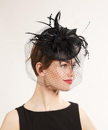 Another great find on #zulily! Black Feather-Accent Veil Headband #zulilyfinds