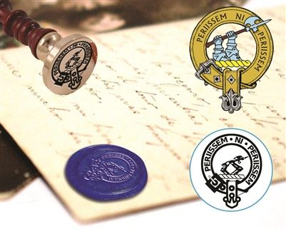 Scottish Clan Crest Badge Custom Wax Seal Stamp with Wood