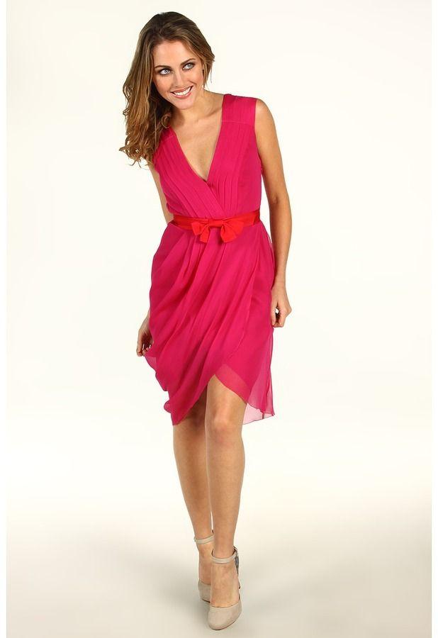 4df8f31cee681d Vera Wang Pleated Chiffon Dress with Bow Belt (Raspberry) - Apparel on  shopstyle.com