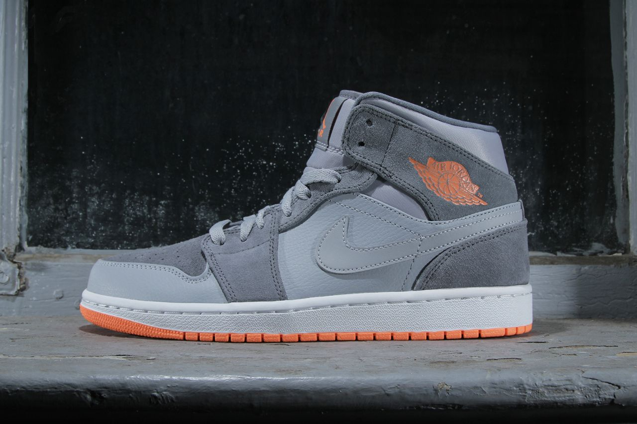 f9bf56fc140 Image of Air Jordan 1 Mid Wolf Grey Atomic Orange