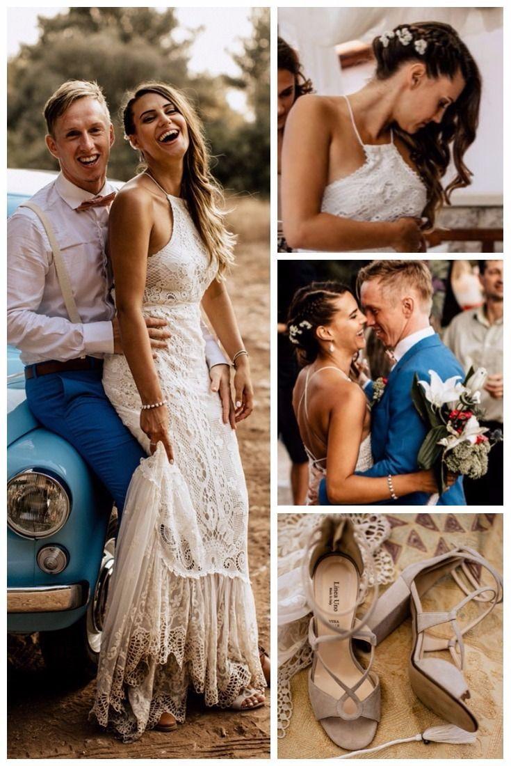 Bohemian bridal style boho wedding dresses lace halter neckline long