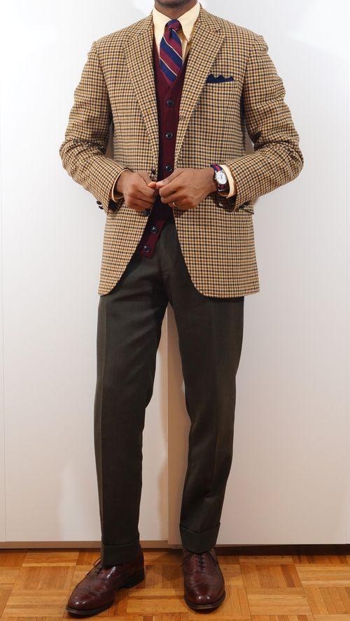 Tan gun clue check sport coat, yellow OCBD, red, yellow, & navy stripe tie, brown pants, dark red vest