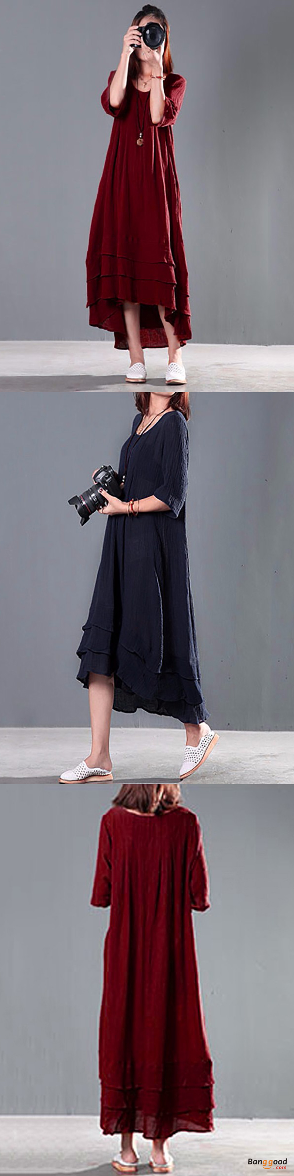 Women double layers casual dress loose cotton maxi dresses teen
