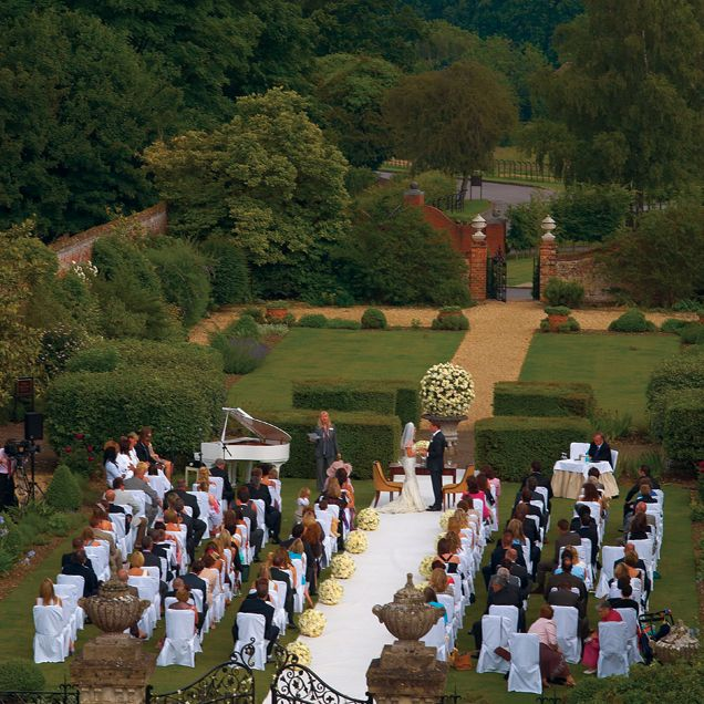 An Aerial Photograph Of The Wedding Ceremony At Four Seasons Hotel Hampshire