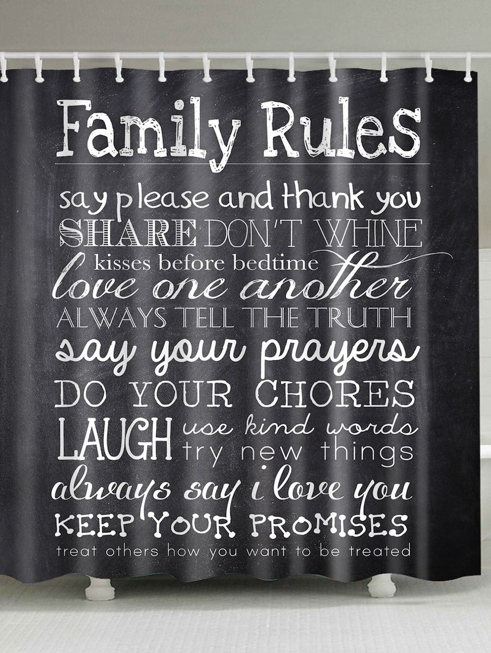 Family Rules Waterproof Shower Curtain Family Rules Black