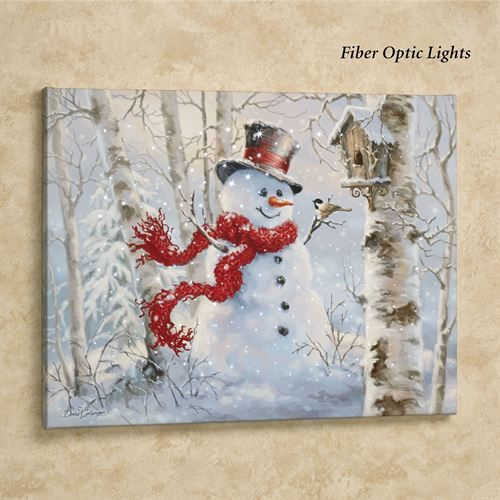 Snowman Led Lighted Canvas Wall Art White Christmas Art Christmas Paintings Christmas Wall Art