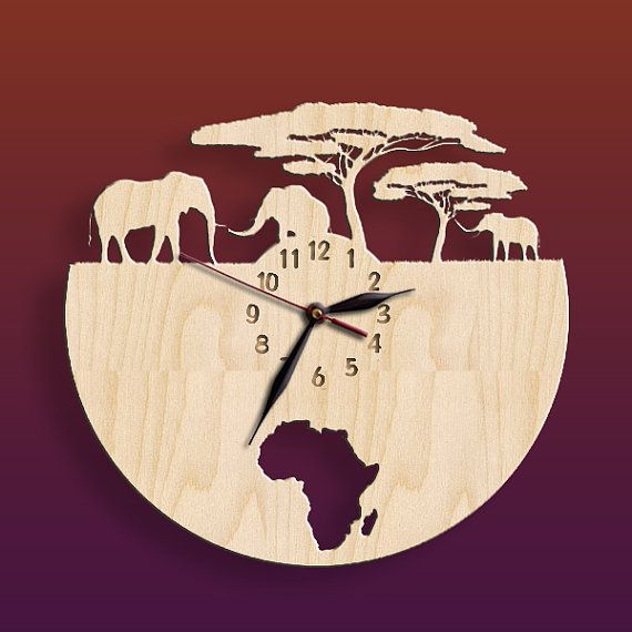 18″ African Elephant Wall Clock BIG Wood Safari Non-ticking, Travel Traveling Africa Wild Nature LARGE 12-16-18inch, Animals.#34-PERS-p05-D1