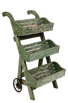 Cottage Style 3 Tier Garden Planter On Wheels Plant Rack Flower Stand