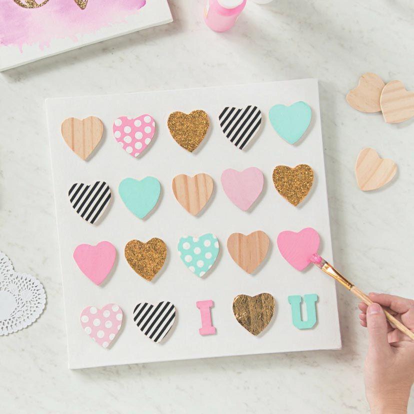 Diy Mini Wooden Heart Canvas Wooden Hearts Crafts Wood Heart Crafts Heart Canvas