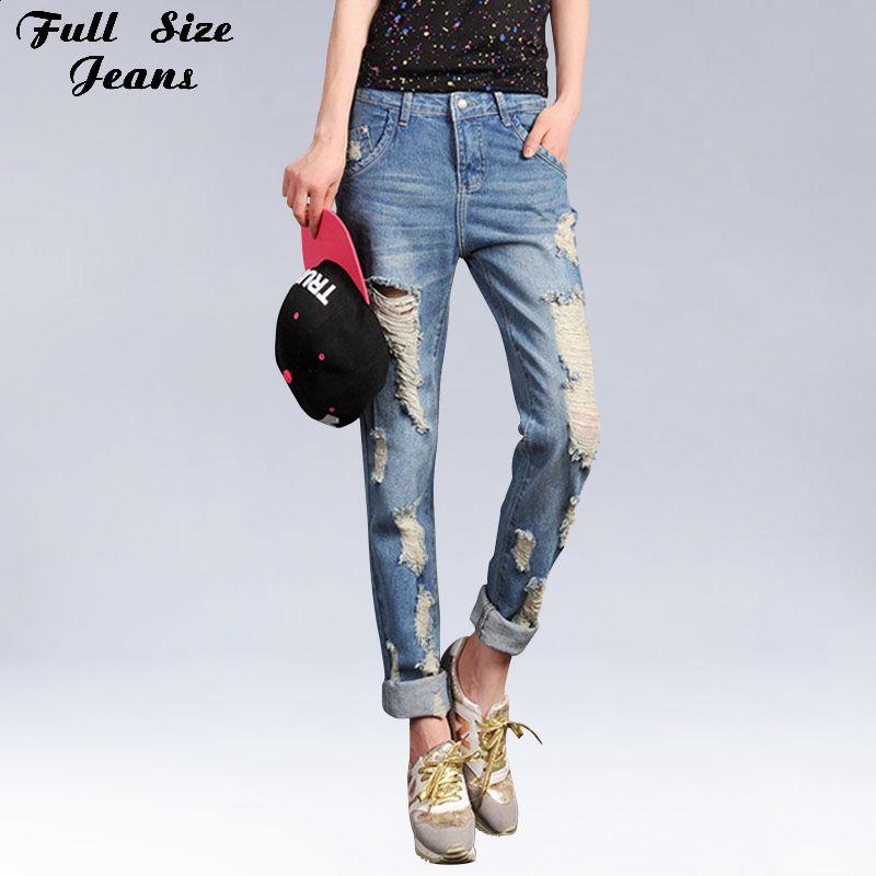 e5196b879ec Plus Size Boyfriend Ripped Jeans Women True Denim Jean Loose Light  Destressed Jeans Rock Vintage Destroyed