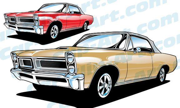 1965 Pontiac Gto Convertible Vector Car Clip Art Muscle Cars Past
