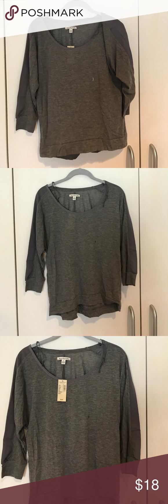 Long sleeve shirt Lobby sleeve cotton shirt with fabric on the arms Tops Tees - Long Sleeve