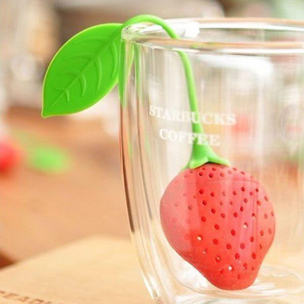 Silicone Tea Strainer Strawberry Shape Tea Leaf Bag Holder Coffee Filter Infuser