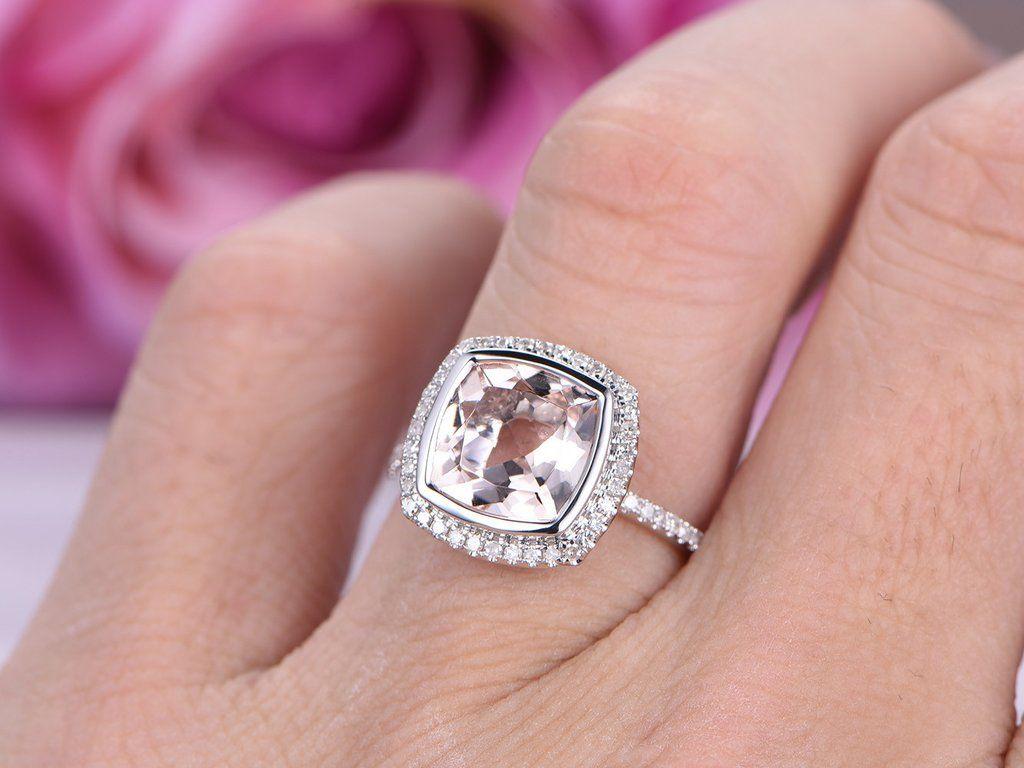 Cushion Morganite Engagement Ring Pave Diamond Wedding 14K White ...